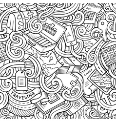 Cartoon doodles travel planning seamless pattern vector