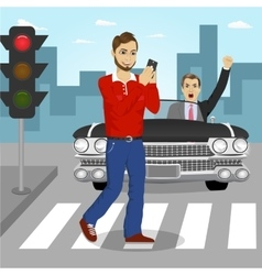 Young man crossing street sending sms vector