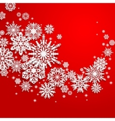 Abstract swirl of paper snowflakes on a red vector