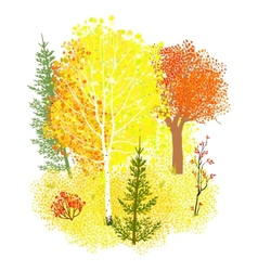 Background with autumn forest vector