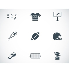 black football icons set vector image