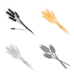 Bundle of wheat icon in cartoon style isolated on vector