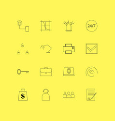 Business linear icon set simple outline icons vector