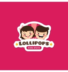 Cartoon lollipops store logo vector