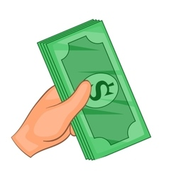 Cash in hand icon cartoon style vector