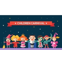 Children carnival - flat design characters website vector image