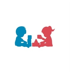 Children playing into cubes with fun pyramid vector image