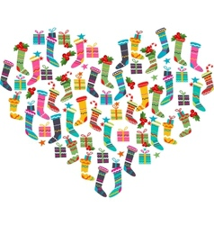 Christmas heart made of santa socks vector image