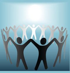 circle of people hold hands vector image