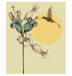 Cute colibri invitation card retro style vector