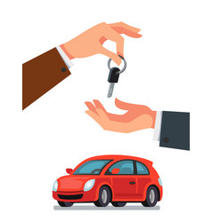 Dealer giving keys chain to a buyer hand vector