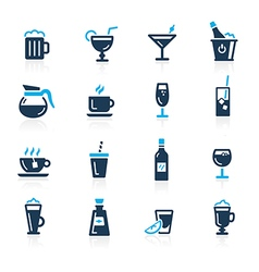 Drinks icons azure vector