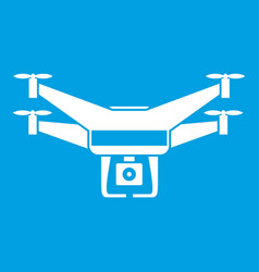 Drone video camera icon white vector