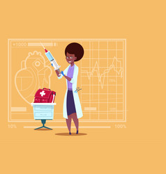 Female doctor holding syringe medical clinics vector