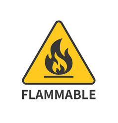 flammable sign icon in yellow triangle vector image vector image