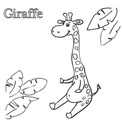 giraffe coloring pages for children eps 10 vector image