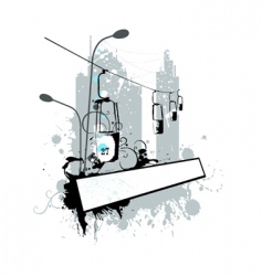 grunge landscape cableway vector image vector image