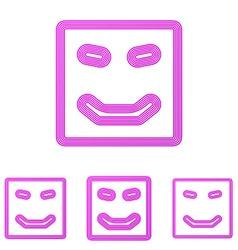 Magenta line happy logo design set vector