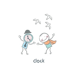 Man and clock vector image
