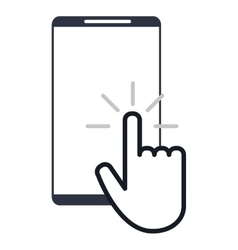 Modern cellphone with hand pointer icon vector
