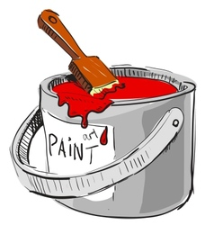 Paint bucket with brush vector image vector image