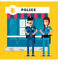 Policemen Station vector image