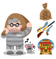 Prisoner robber with a big bag of loot wild west vector