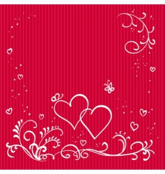 red valentine background with hearts vector image vector image