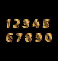 sketch numbers - golden color letters are made vector image