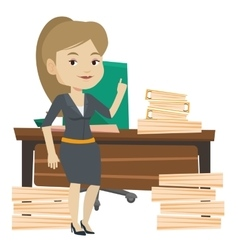 Smiling businesswoman pointing with her forefinger vector