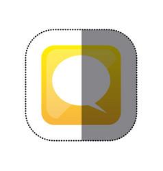 sticker color square with speech bubble vector image