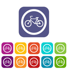 Travel by bicycle is prohibited traffic sign icons vector