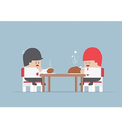 Two businessmen sitting at dinning table with big vector