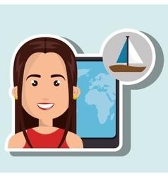 Woman travel map world vector