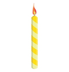 Yellow birthday candle vector