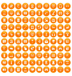 100 software icons set orange vector