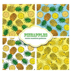 Pineapple colored doodle seamless pattern vector