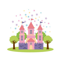 Cute pink fantasy castle vector