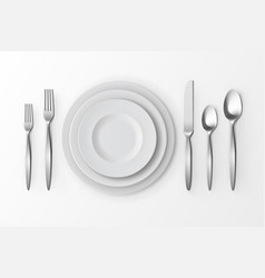 Set of silver forks spoons and knifes plates vector
