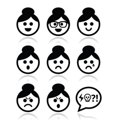 Grandma face woman with bun hair icons set vector