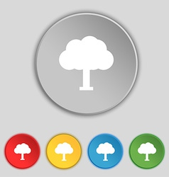Tree forest icon sign symbol on five flat buttons vector
