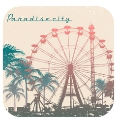 Ferris wheel and palm tree vector