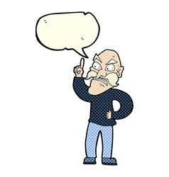 Cartoon old man laying down rules with speech vector