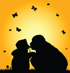 Child kissing with dad silhouette vector