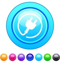 Power plug circle button vector image