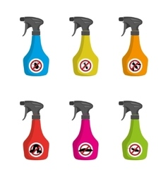 Pest control set of multicolored spray vector