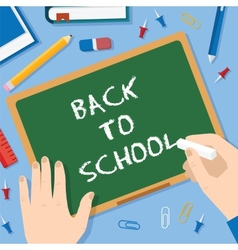 Back to school flat style blackboard background vector