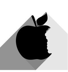 Bited apple sign black icon with two flat vector