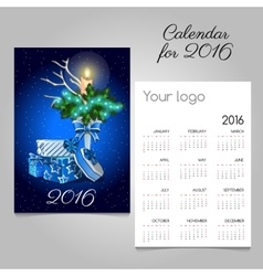 Calendar with vintage image of Christmas symbols vector image vector image