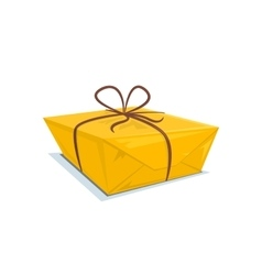 Cardboard box tied with a ribbon vector